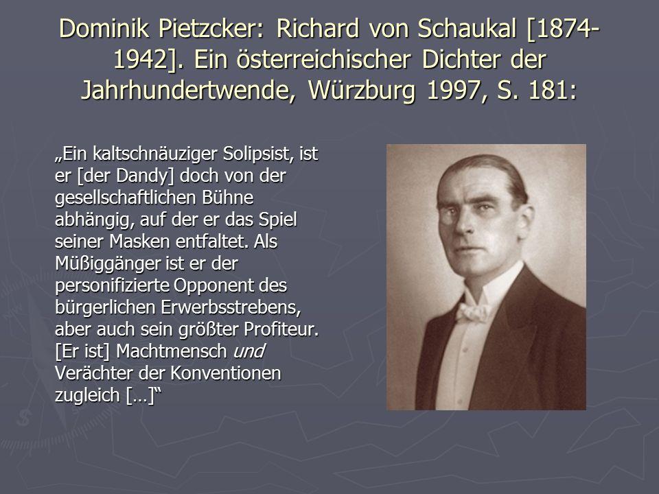 Dominik Pietzcker: Richard von Schaukal [1874-1942]
